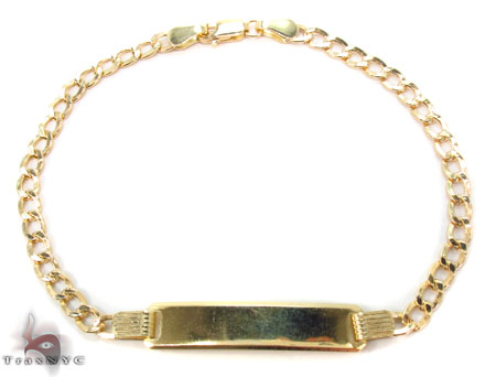 10K Cuban ID Bracelet 33052 Gold