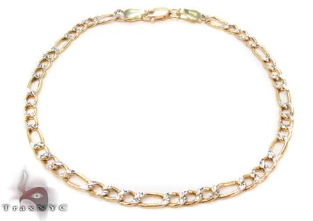 10K Figaro Diamond Cut Bracelet 33022 Gold