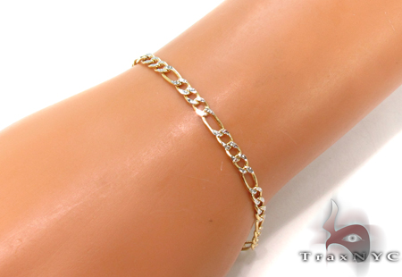 10K Figaro Diamond Cut Bracelet 33022 Gold