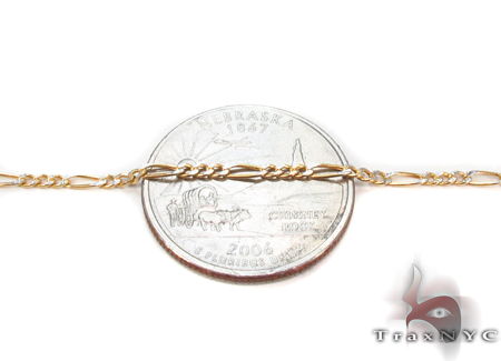 10K Figaro Diamond Cut Bracelet 33023 Gold