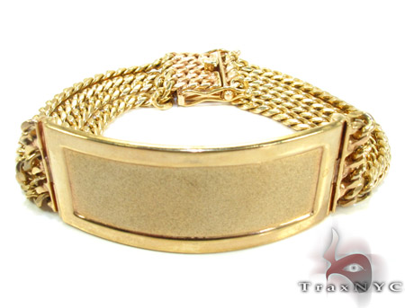 10K Gold 4 Row Beveled Flat Curb Bracelet Gold Mens Bracelets
