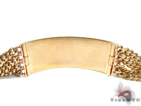 10K Gold 4 Row Beveled Flat Curb Bracelet Gold