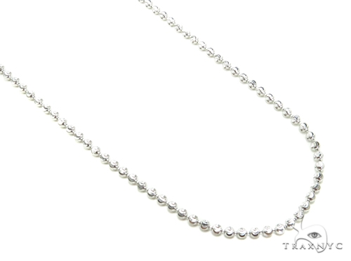 10K Gold Bead Moon Cut Chain 24 Inches 2mm 6.6 Grams Gold