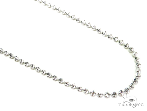 10K Gold Bead Moon Cut Chain 28 Inches 2mm 7.7 Grams Gold