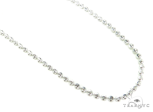 10K Gold Bead Moon Cut Chain 30 Inches 2mm 8.2 Grams Gold