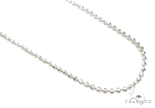10K Gold Bead Moon Cut Chain 36 Inches 2mm 9.9 Grams Gold