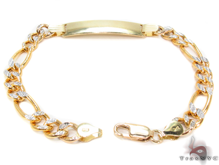 10K Gold Figaro Diamond Cut ID Bracelet 33041 Gold