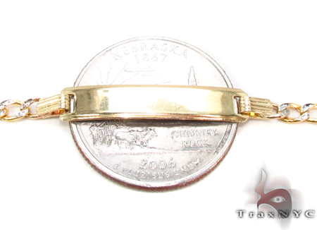10K Gold Figaro Diamond Cut ID Bracelet 33039 Gold