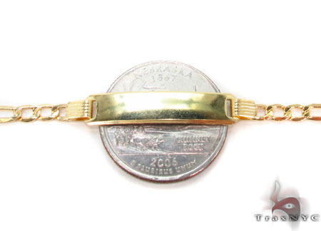 10K Gold Figaro ID Bracelet 33045 Gold