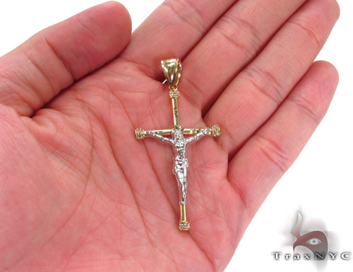CZ 10K Gold Jesus Cross 34126 Gold