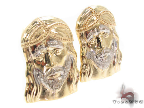 10K Gold Jesus Earrings 34149 Metal