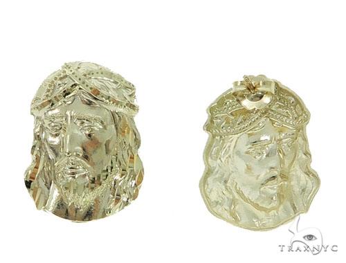 10K Gold Jesus Earrings 34150 Metal