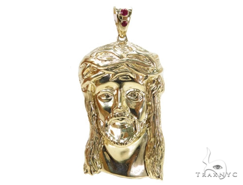 Solid 10K Gold Jesus Pendant 39852 Metal
