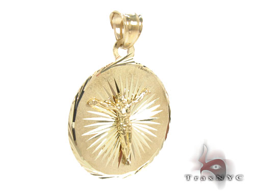 10K Gold Jesus Medallion Pendant Metal