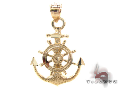 10K Gold Anchor Pendant 34814 Metal