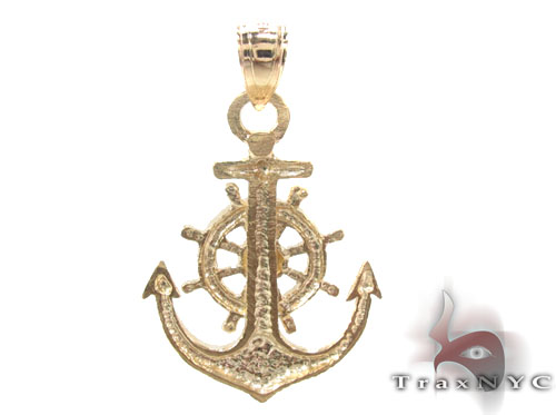 10K Gold Anchor Pendant 34814 Metal