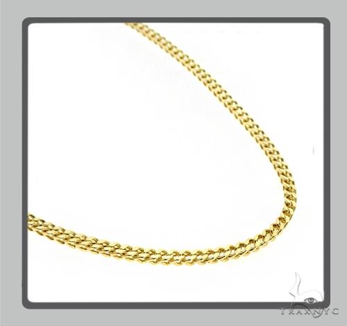 10K Semi Hollow Traxnyc Franco Chain 28 Inches 2.5mm 12.4 Grams Gold