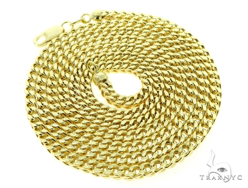10K Semi Hollow Traxnyc Franco Chain 28 Inches 2.5mm 12.4 Grams Gold