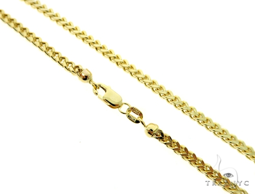 10K Semi Hollow Traxnyc Franco Chain 30 Inches 2.5mm 13 Grams Gold
