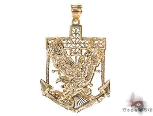 10K Two Tone Eagle Pendant 33958 Metal