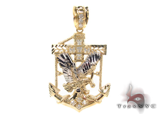 10K Two Tone Eagle Pendant 33959 Metal