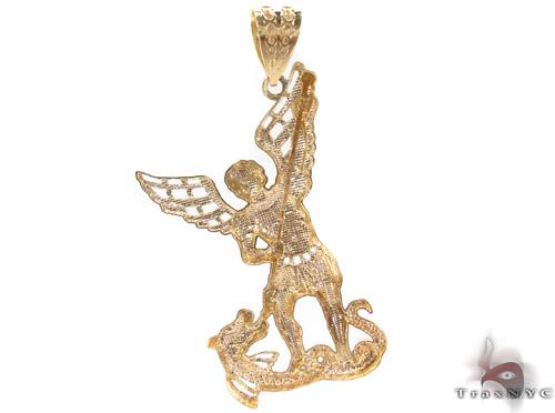 10K Two Tone Gold Saint Michael Pendant 33929 Style