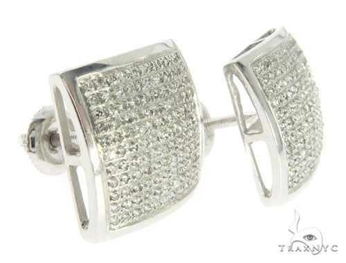 10K White Gold Micro Pave Diamond Dome Square Earrings 61442 Stone