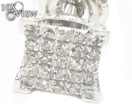 10K White Gold Prong Diamond Earrings 32058 Stone