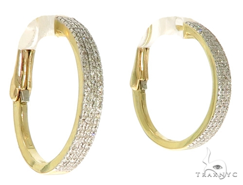 10K YG Micro Pave Diamond Hoop Earrings 58581 10k, 14k, 18k Gold Earrings