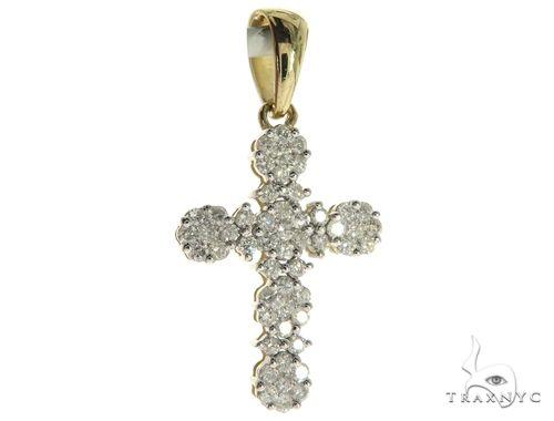 10K Yellow Gold Micro Pave Diamond Cross Crucifix Pendant 63654 ダイヤモンド クロス