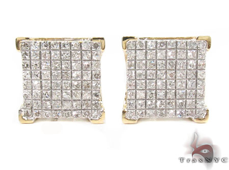 10K Yellow Prong Diamond Earrings 32053 Stone