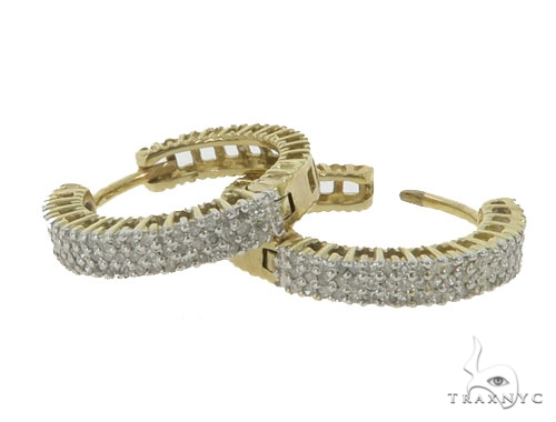 10KY Prong Diamond Hoop Earrings 57314 Stone