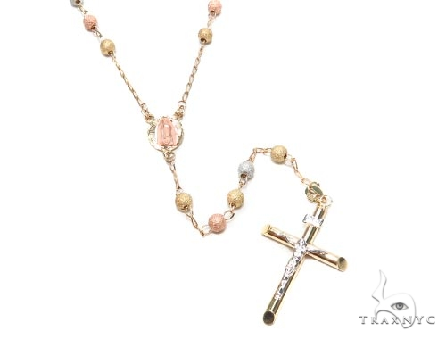 10k Gold Cross Rosary Chain 30 Inches 4mm 11.2 Grams 42545 Gold