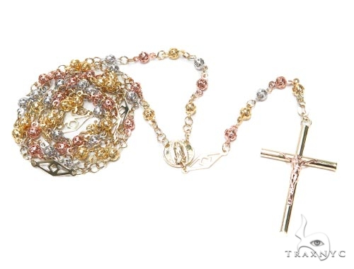 10k Gold Cross Rosary n 30 Inches 4mm 14 Grams 42546 Gold