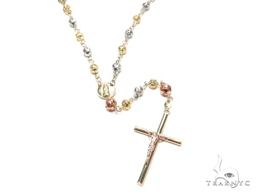 10k Gold Cross Rosary Chain 30 Inches 5mm 18 Grams 42547 Gold