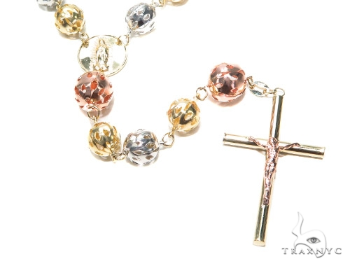 10k Gold Rosary Chain 30 Inches 8mm 34.9 Grams 42318 Gold