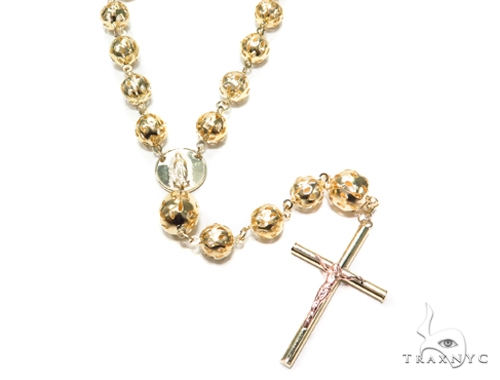 10k Gold Rosary Chain 30 Inches 8mm 35.4 Grams 42486 Gold