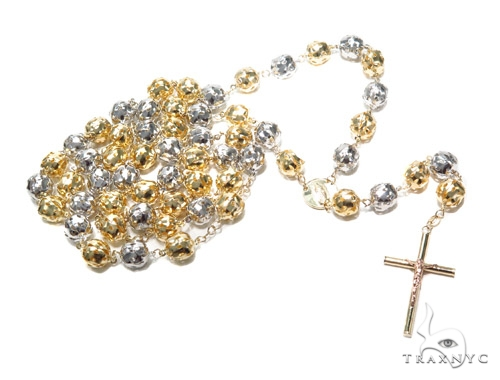 10k Gold Rosary Chain 36 Inches 10mm 52.6 Grams 42316 Gold