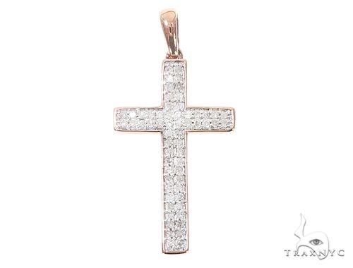 10k Two Tone Diamond Cross Pendant 65107 ダイヤモンド クロス