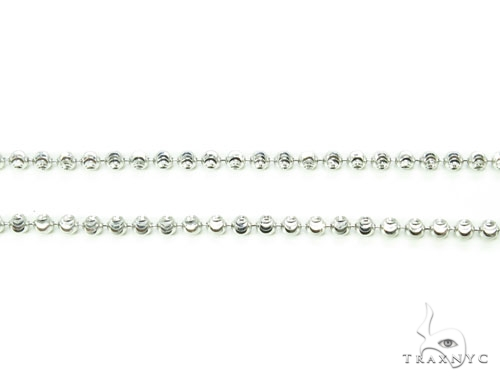 10k White Gold Bead Chain 32 Inches 2mm 8.8 Grams Gold