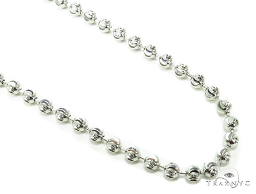 10k White Gold Bead Chain 32 Inches 5mm 48.1 Grams Gold