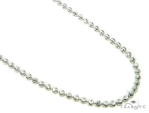 10k White Gold Bead Chain 34 Inches 2mm 9.5 Grams Gold