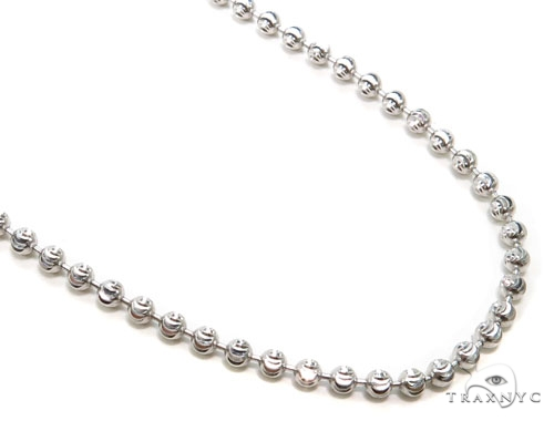 10k White Gold Bead Chain 34 Inches 3mm 21.1 Grams Gold