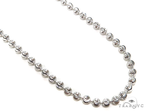 10k White Gold Bead Chain 34 Inches 4mm 37.5 Grams Gold