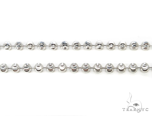 10k White Gold Bead Chain 36 Inches 3mm 22.9 Grams Gold