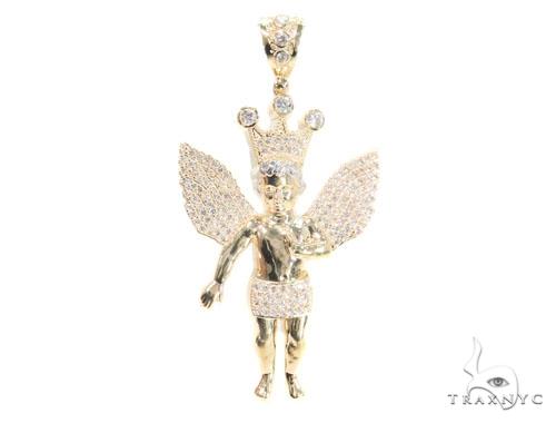 10k Yellow Gold Crown Angel Pendant 44217 Metal