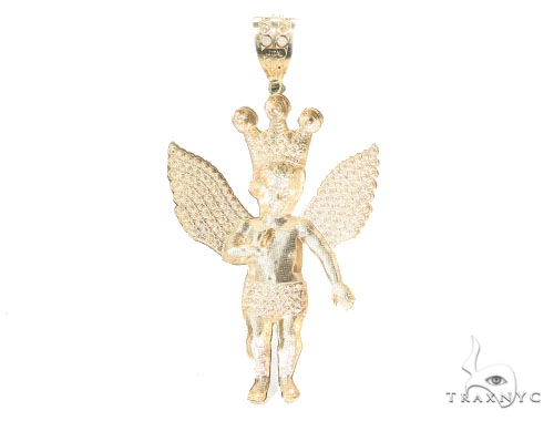 10k Yellow Gold Crown Angel Pendant 44217 Metal