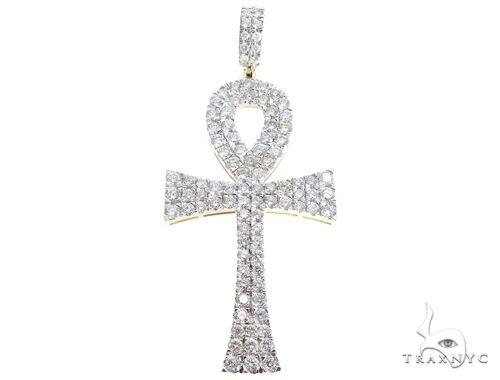10k Yellow Gold Diamond Ankh Pendant 64761 メンズ ダイヤモンド クロス