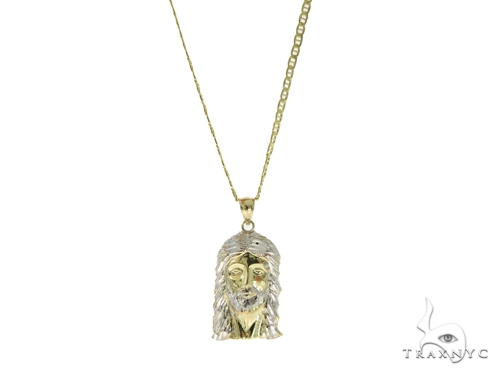 10k Yellow Gold Jesus Anchor Chain Set 44383 Style