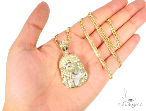 10k Yellow Gold Jesus Anchor Chain Set 44414 Style